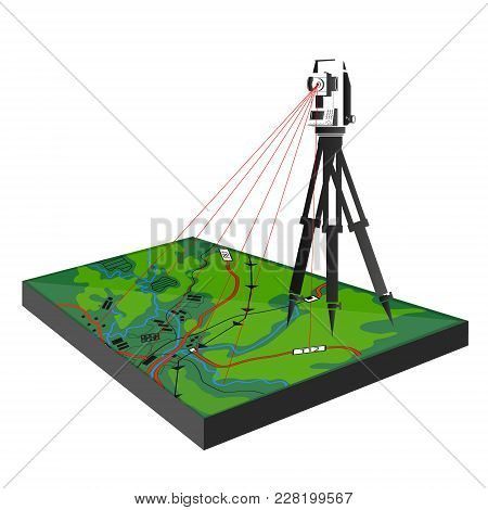 Geodetic Survey In The Field Illustration For Business