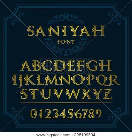 Vintage Patterned Letters. Vintage Font In Floral Baroque Style. Vintage Latin Alphabet. Vintage Whi