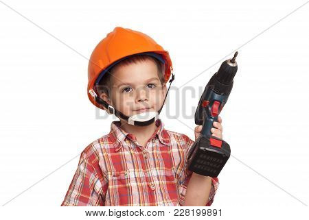 Child Construction Worker And Screwdriver