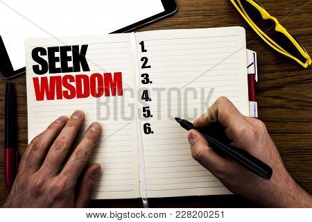 Word, Writing Seek Wisdom. Business Concept For Inspiration Knowledge Written Book, Wooden Backgroun