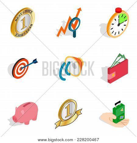 Successful Entrepreneur Icons Set. Isometric Set Of 9 Successful Entrepreneur Vector Icons For Web I