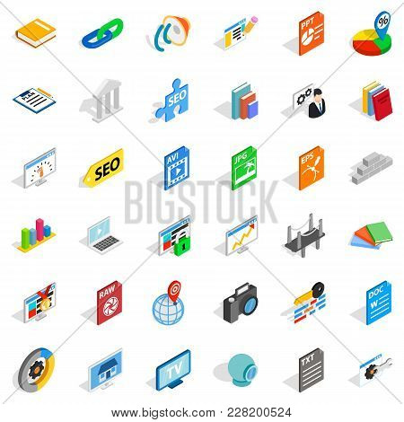 Office Document Icons Set. Isometric Set Of 36 Office Document Vector Icons For Web Isolated On Whit