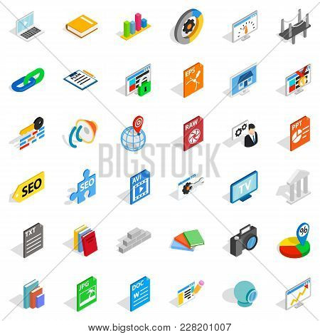 Trading Organization Icons Set. Isometric Set Of 36 Trading Organization Vector Icons For Web Isolat