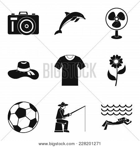 Summer Period Icons Set. Simple Set Of 9 Summer Period Vector Icons For Web Isolated On White Backgr