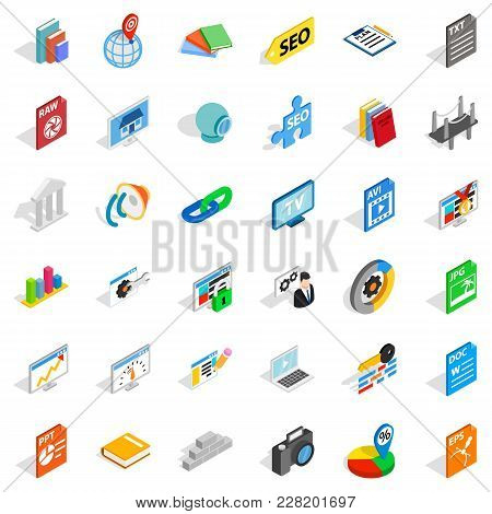 Foreign Company Icons Set. Isometric Set Of 36 Foreign Company Vector Icons For Web Isolated On Whit