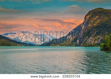 Famous Alpine Place With Spectacular Mondsee Lake And Magical Sunset In Upper Austria, Salzkammergut