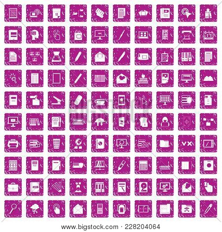 100 Folder Icons Set In Grunge Style Pink Color Isolated On White Background Vector Illustration