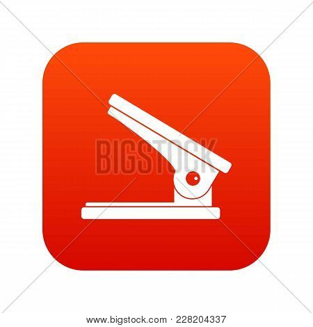 Office Paper Hole Puncher Icon Digital Red For Any Design Isolated On White Vector Illustration