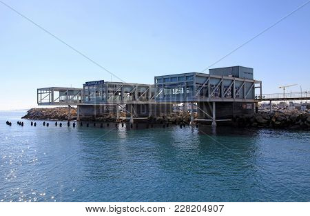 Limassol, Cyprus - January 9, 2018: View Of The Limassol Old Port With Modern Restaurants And Medite