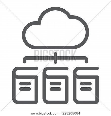 Digital Library Line Icon, E Learning And Education, Cloud Book Sign Vector Graphics, A Linear Patte