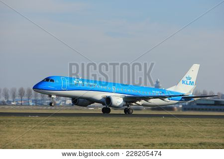 Amsterdam The Netherlands - February 24th 2018: Ph-exf Klm Cityhopper Embraer Erj-190 Takeoff From P