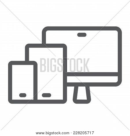 Responsive Line Icon, Computer And Laptop, Devices Sign Vector Graphics, A Linear Pattern On A White