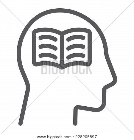 Self Study Line Icon, E Learning And Education, Person With Book Sign Vector Graphics, A Linear Patt