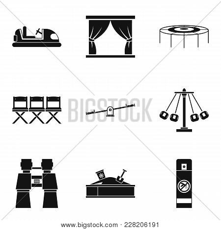 Funny Summer Icons Set. Simple Set Of 9 Funny Summer Vector Icons For Web Isolated On White Backgrou