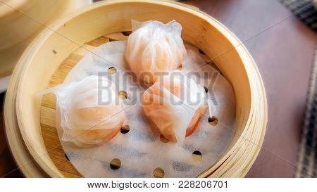 Har Gow A Traditional Shrimp Dumpling Dim Sum In Bamboo Basket