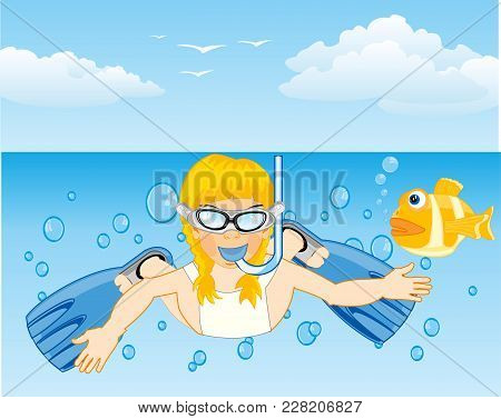 Girl Diver With Flipper And Mask In Water