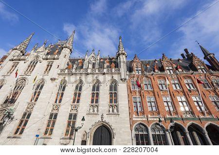 Provincial Court And Post Office Buildings In Bruges. Bruges, Flemish Region, Belgium.