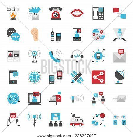 Communication Evolution Pixel Perfect Flat Icon, Isolated On White Background
