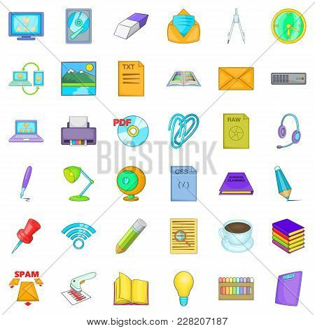 Organizational Management Icons Set. Cartoon Set Of 36 Organizational Management Vector Icons For We