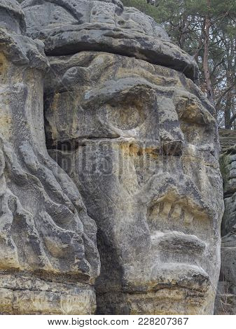 Big Face Devils Head Sculpted In 1846 By Vaclav Levy To The Sand Stone Rock In Zelizy, Czech Republi