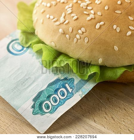Burger With One Thousand Russian Ruble Bill. Business Concept