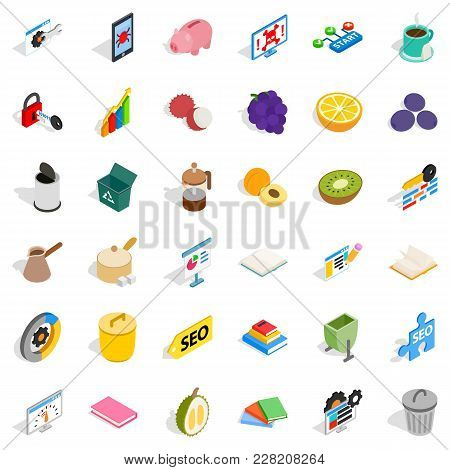 Task Icons Set. Isometric Set Of 36 Task Vector Icons For Web Isolated On White Background
