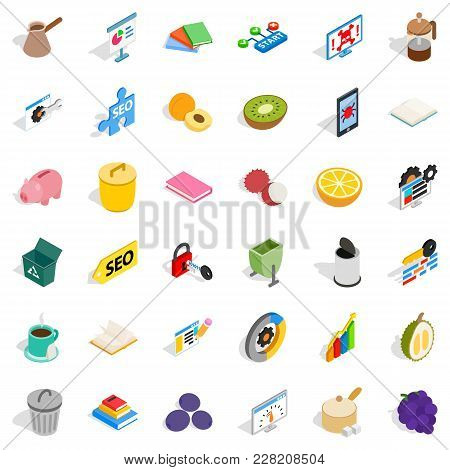 Assigned Task Icons Set. Isometric Set Of 36 Assigned Task Vector Icons For Web Isolated On White Ba