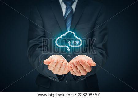 Enterprise Resource Planning Erp As Cloud Service Concept. Businessman Offer Erp Business Management
