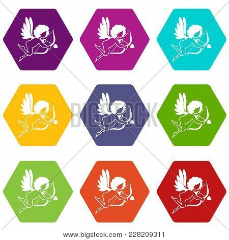 Love Cupid Icon Set Many Color Hexahedron Isolated On White Vector Illustration