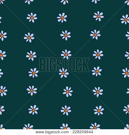 Seamless Pattern Of Tender Blue Chamomiles Arranged In Wavy Bands