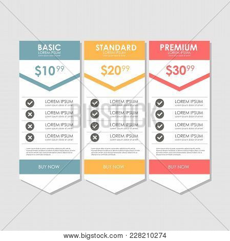 Set Offer Tariffs. Ui Ux Vector Banner For Web App. Set Pricing Table, Order, Box, Button, List With