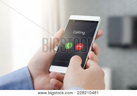 Man Using A Mobile Phone. Making A Call On A Mobile Device. Mobile Smart Phone Call Calling Interfac