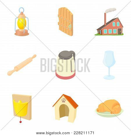 Residential Building Icons Set. Cartoon Set Of 9 Residential Building Vector Icons For Web Isolated