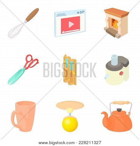 Residential Block Icons Set. Cartoon Set Of 9 Residential Block Vector Icons For Web Isolated On Whi