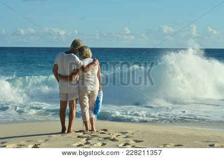Rear View Of Elderly Couple Standing On Sandy Beach During Sunset