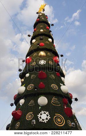 Christmas Tree On Zocalo In Mexico City. Mexico City, Mexico.