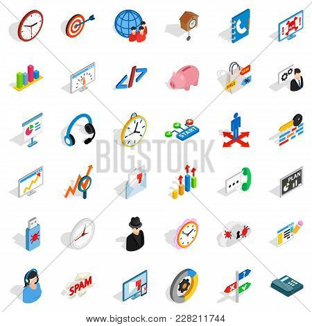 Bookkeeping Service Icons Set. Isometric Set Of 36 Bookkeeping Service Vector Icons For Web Isolated