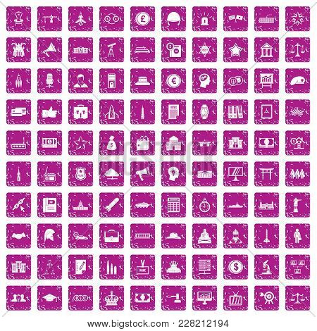 100 Government Icons Set In Grunge Style Pink Color Isolated On White Background Vector Illustration