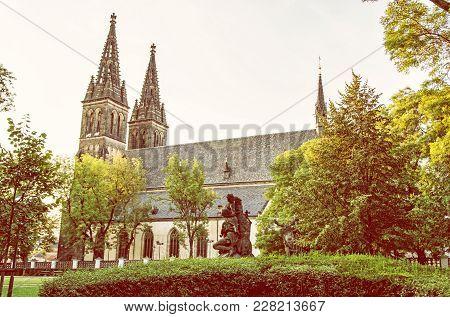 Beautiful Basilica Of Saint Peter And Saint Paul, Vysehrad, Prague, Czech Republic. Religious Archit