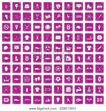 100 Athlete Icons Set In Grunge Style Pink Color Isolated On White Background Vector Illustration