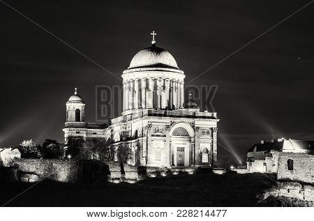 Esztergom Basilica, Hungary. Night Scene. Cultural Heritage. Place Of Worship. Religious Architectur