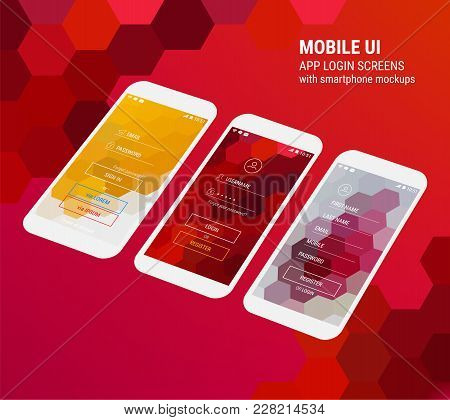 3d Isometric Flat Design Lockscreen Mobile Ui Mock Up, With Hexagonal Abstract Geometric Landscape B