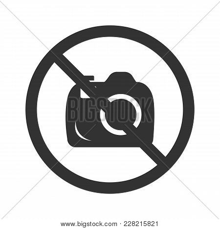 No Photo Camera Icon. Flat Vector Illustration In Black On White Background.