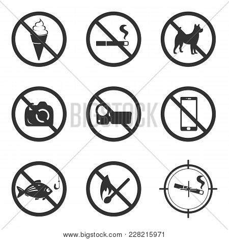 Set Of Prohibition Sign. Flat Vector Illustration In Black On White Background.
