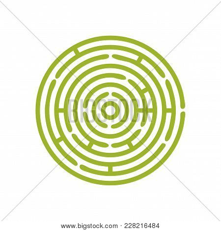 Vector Green Round Maze Or Circular Hedge Garden Labyrinth. Maze Puzzle Symbol Is Great As Metaphor