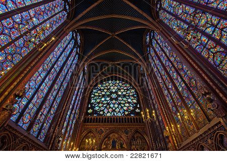 Interior Of Sainte-chapelle, Paris, France