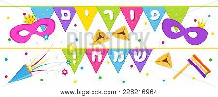Jewish Holiday Of Purim, Banner With Masks, Traditional Hamantaschen Cookies, Gragger Noise Maker, P