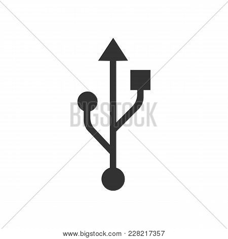 Usb Icon. Flat Vector Illustration In Black On White Background.