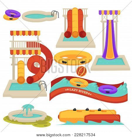 Aquapark Park Water Slides And Amusement Park Attractions. Vector Flat Cartoon Isolated Icons Of Ban
