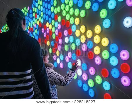 Canberra, Australia - Apr 25, 2017: The Light Touch Wall In The Canberra Centre, Where Light Dots Ch